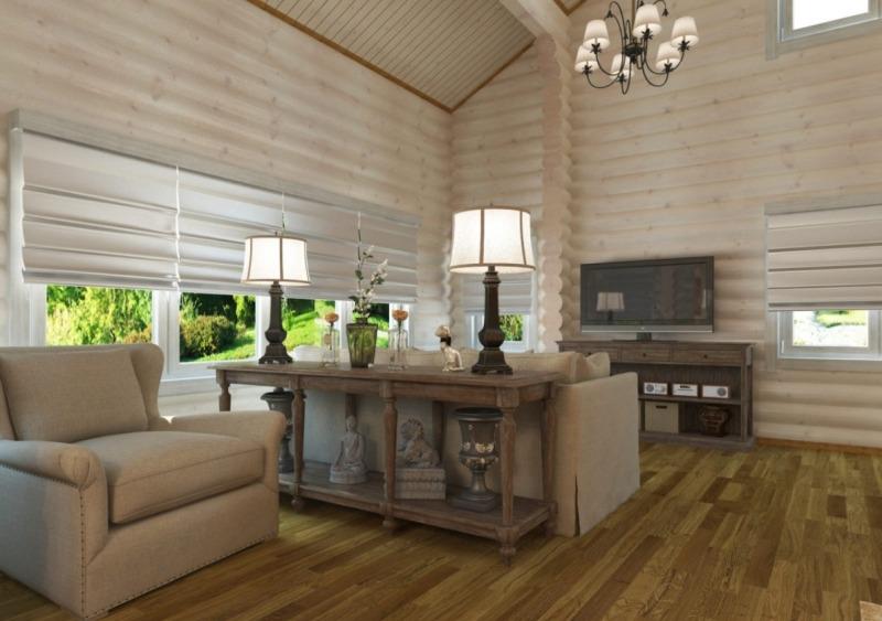покрашенный светлый блок хаус в интерьере